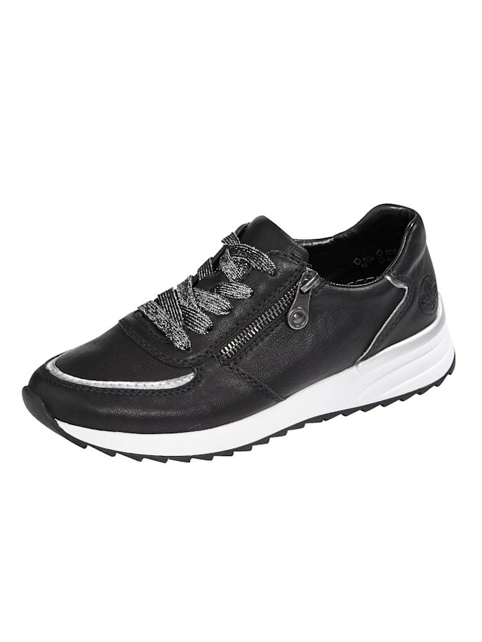 Rieker Sneaker met Memo Soft voetbed, Zwart