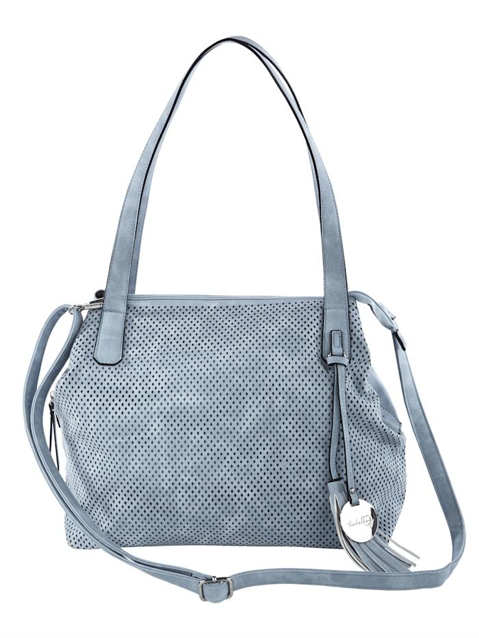 Taschenherz Handbag with cutout detailing, Steel Blue