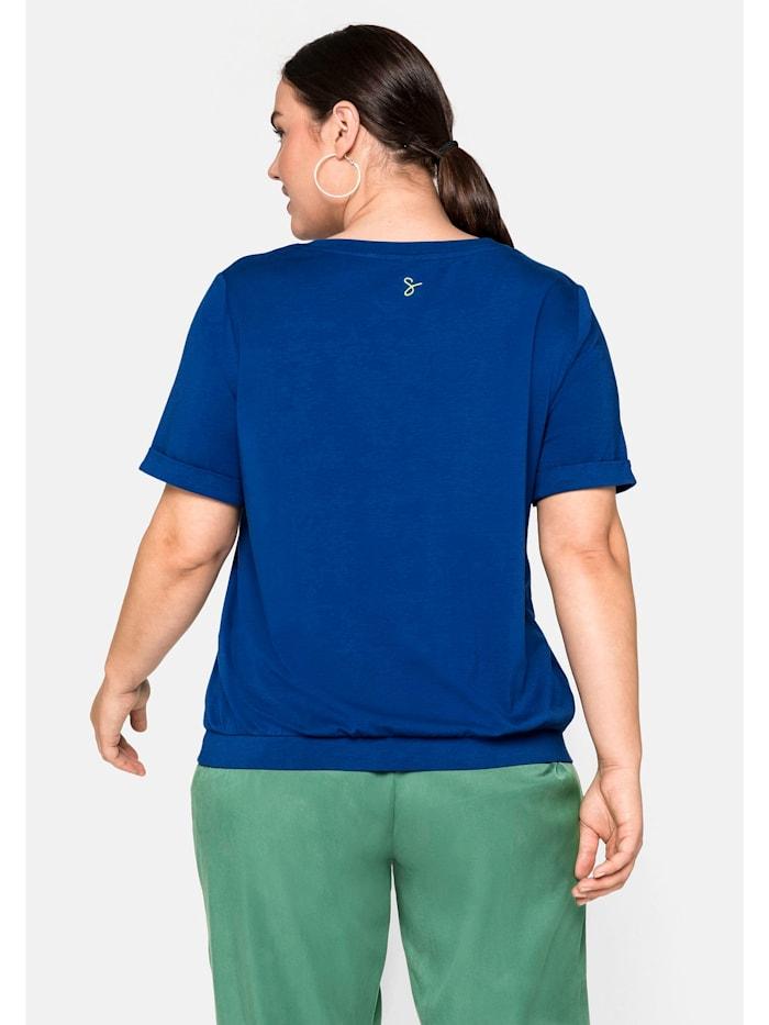 Sheego Kurzarmshirt mit kontrastfarbenem Bindeband