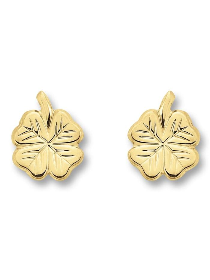One Element Damen Schmuck Ohrringe / Ohrstecker Kleeblatt aus 333 Gelbgold, gold