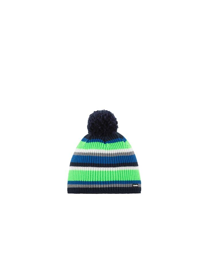 Eisbär Farbenfrohe Rippstrick-Kindermütze mit flauschigem Pompon <<Clip>>, dark cobalt-grau-mi.blau-li.gr