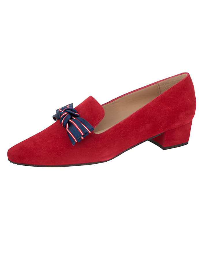 Gennia Pump met strik in maritieme look, Rood
