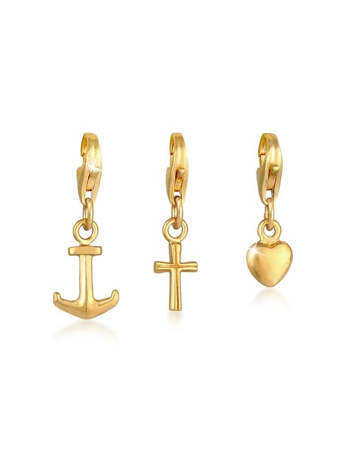 Nenalina Charm Kreuz Herz Anker Liebe Glaube Set 925 Silber, Gold