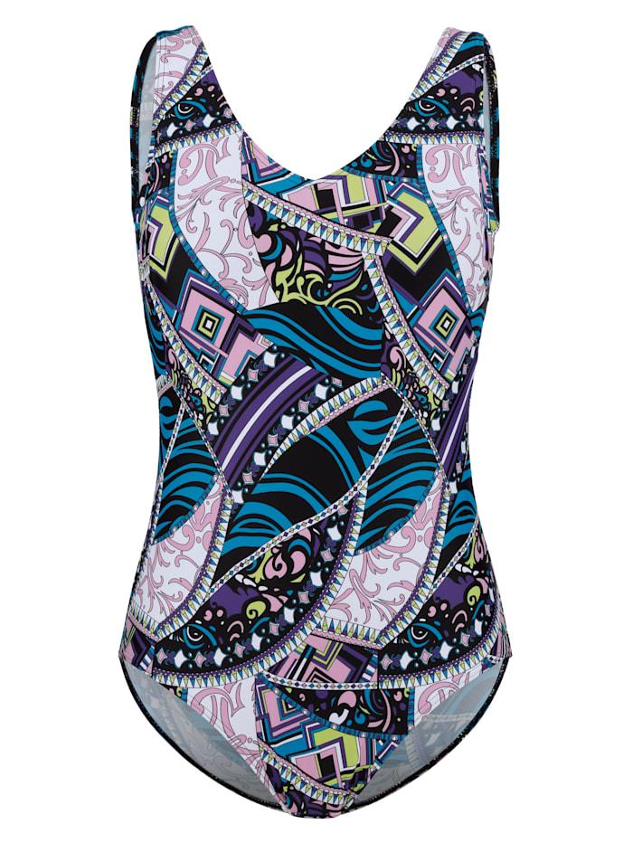 Maritim Swimsuit in a print mix, Blue/Black/Purple