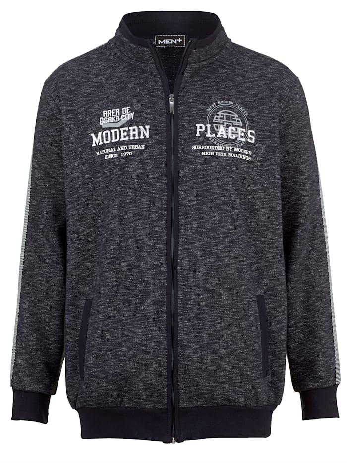 Men Plus Sweatshirtjacka med ståkrage, Marinblå/Vit