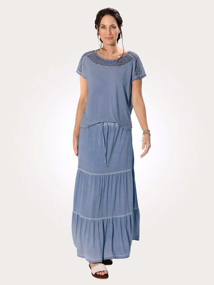 MONA Jersey rok in trendy oil dyed look, Ijsblauw