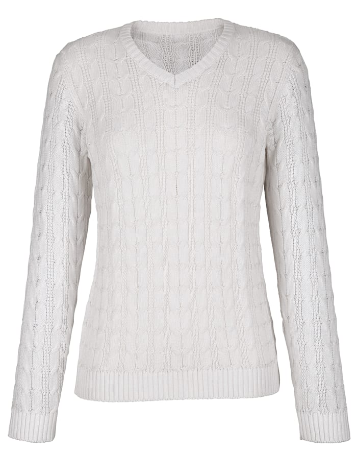 Dress In Jumper with a cable knit, White