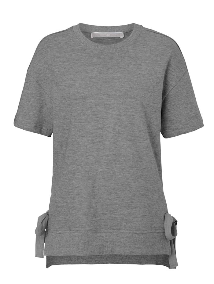 Mellow Peach Sweatshirt Seitenschlitze mit Bändern, Grau