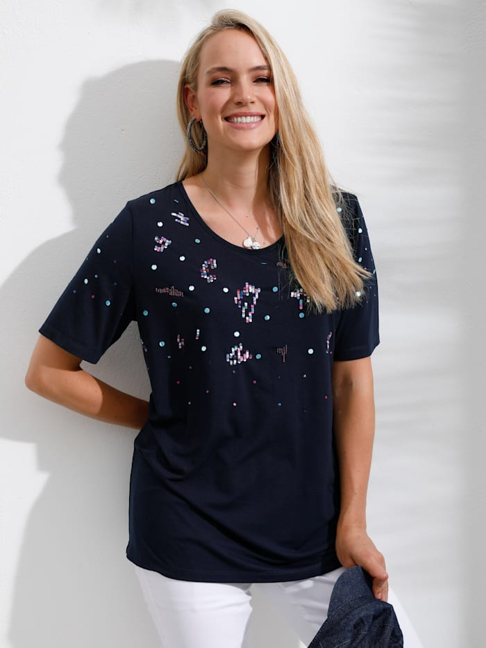 MIAMODA Shirt mit funkelnden Pailletten besetzt, Marineblau