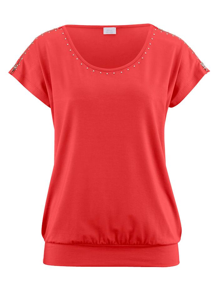 Alba Moda Shirt mit Nietenverzierung, koralle