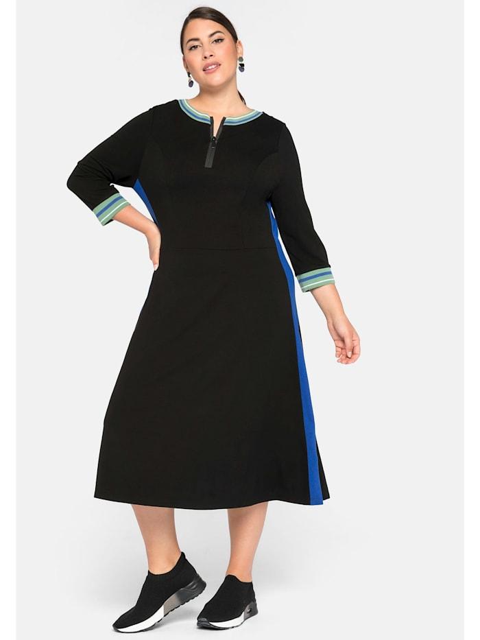 Sheego Kleid mit Zipper und Kontraststreifen, schwarz