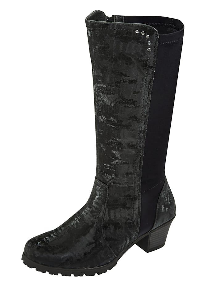 Liva Loop Stiefel mit Elasteinsatz für gute Passform im Wadenbereich, Schwarz