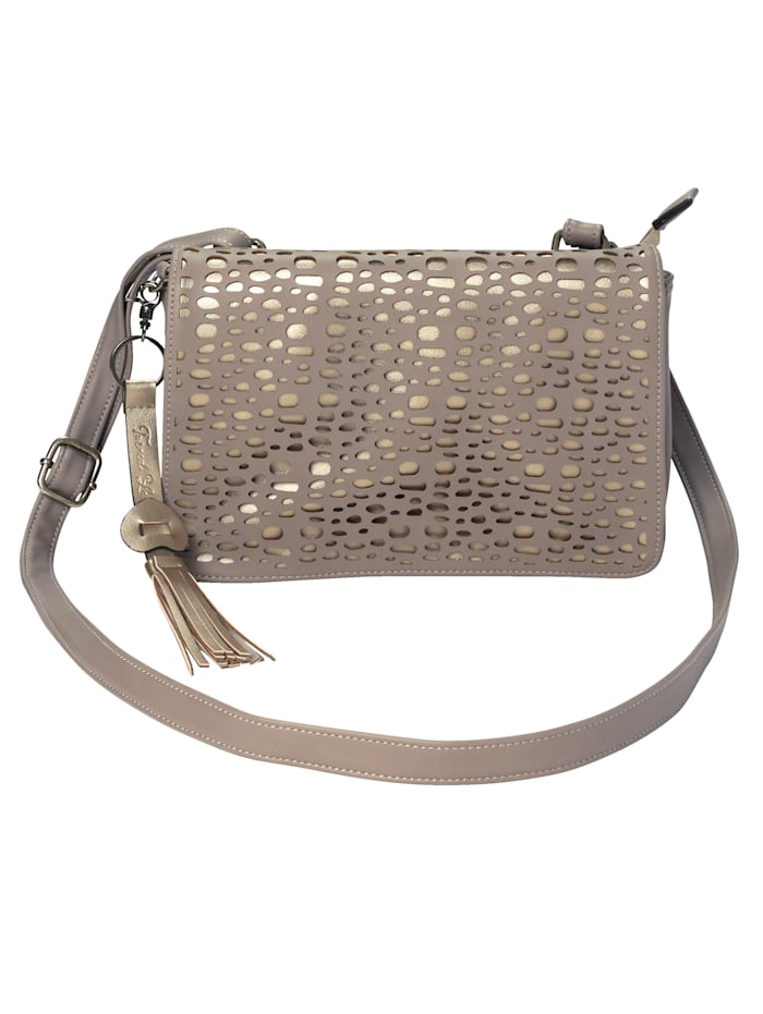 Turned Love Shoulder Bag with a whole pattern and soft material, Taupe