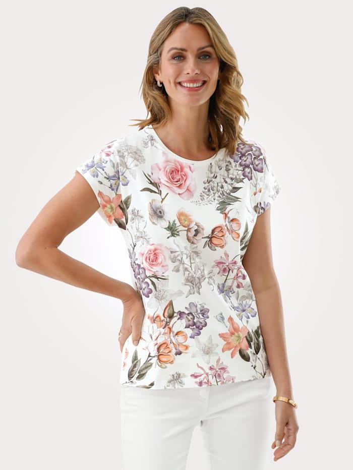 MONA Shirt aus reiner Baumwolle, Ecru/Rosé/Lavendel