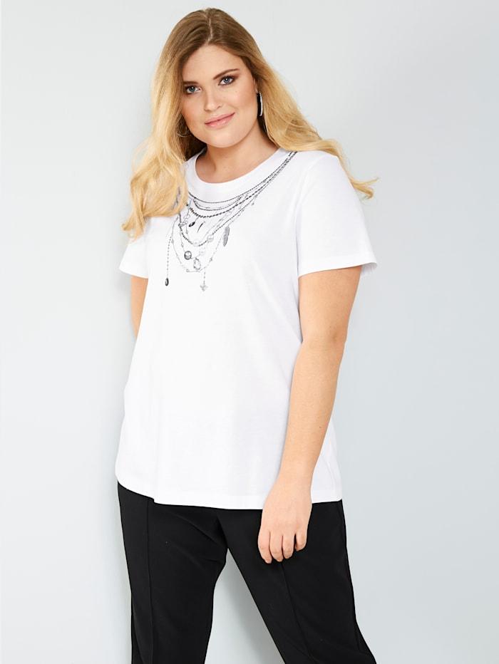 Sara Lindholm Shirt van zuiver katoen, Wit/Zwart