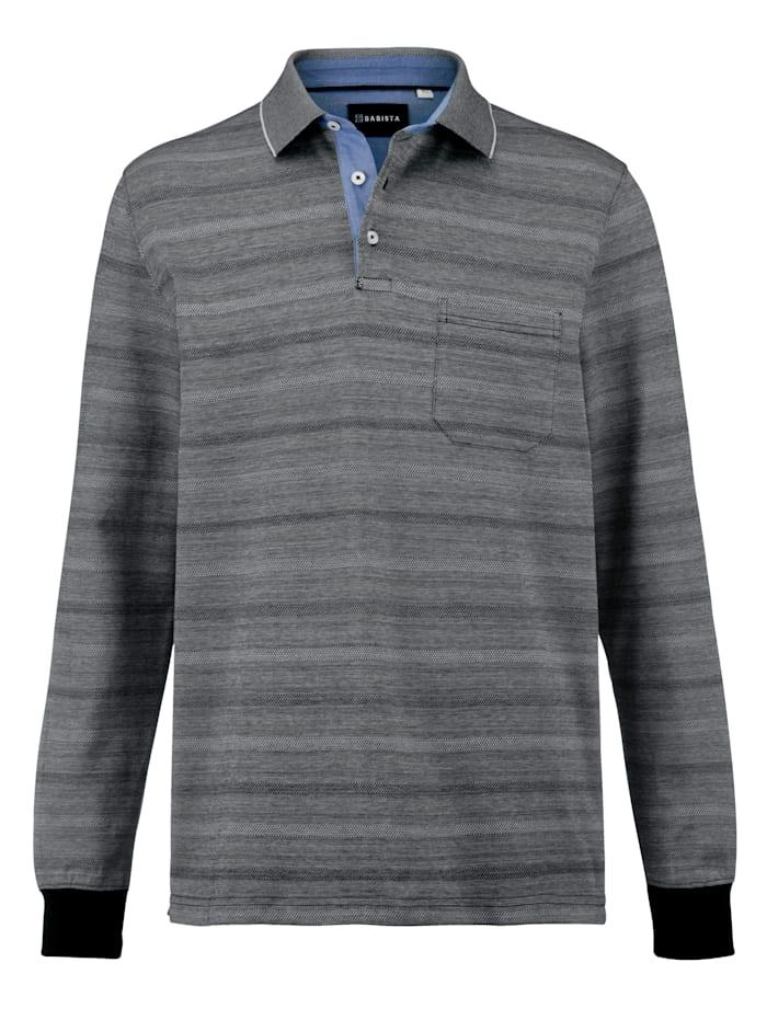 Babista Premium Poloshirt mit Jaquardmuster, Silbergrau