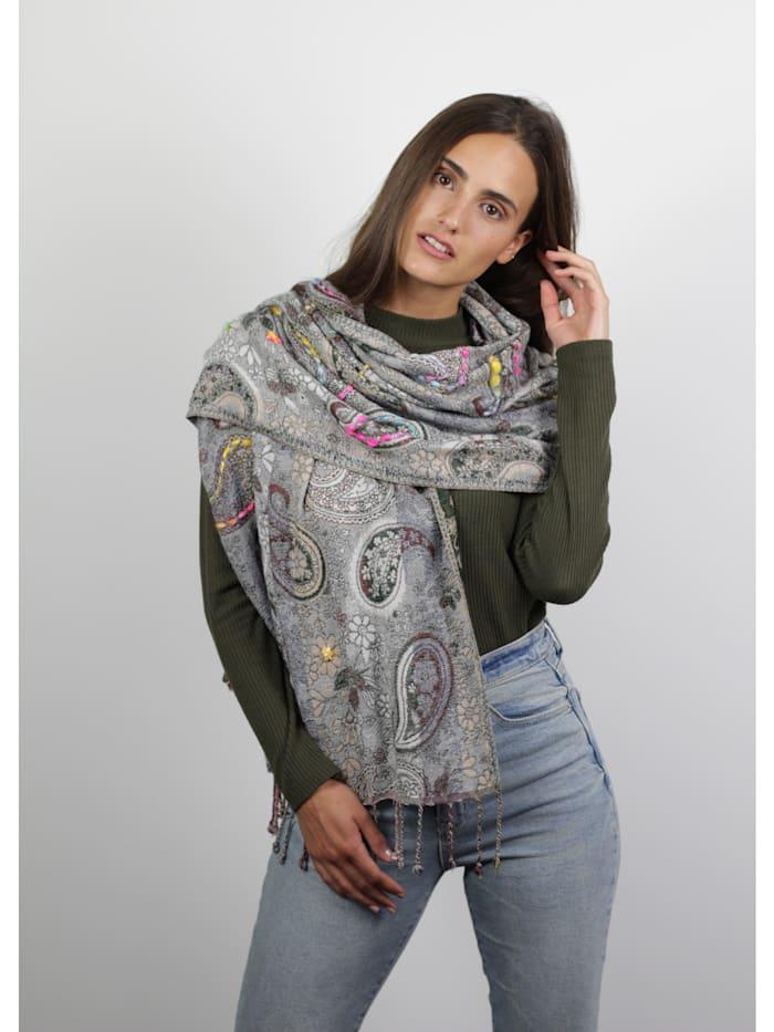 Warmer Paisley-Schal aus Viskose und Wolle