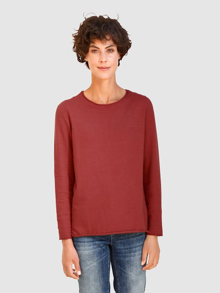 Dress In Pullover Mit Rollsaum, Terracotta