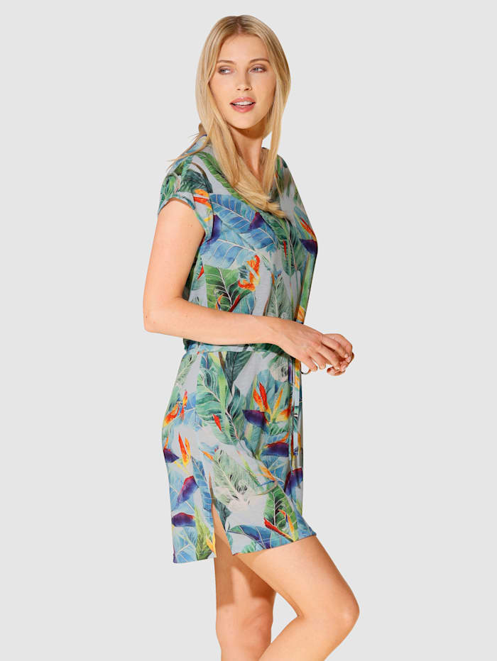 Maritim Robe longue à imprimé jungle tendance, Vert/Bleu/Orange