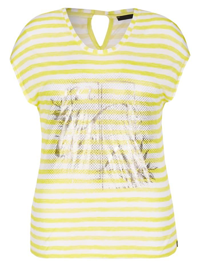 Le Comte Shirt mit Ringelmuster und schimmernden Print, Yellow