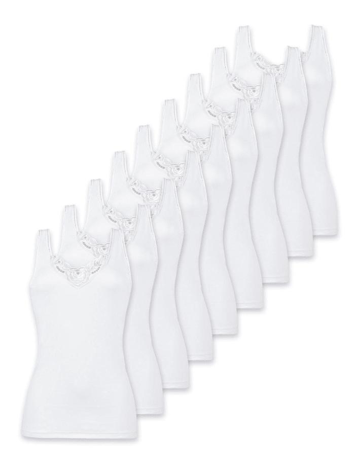 Naturana 9er Sparpack Damen Unterhemd Spar-Set, Weiss