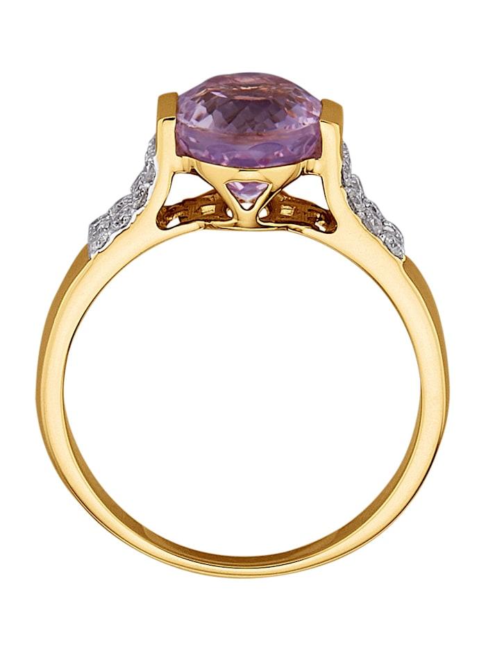 Damenring mit Kunzit und Diamanten