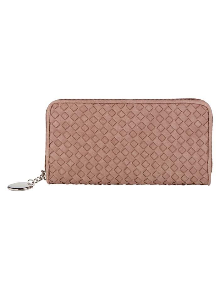 Taschenherz Geldbörse in schöner Flechtoptik, Rosé