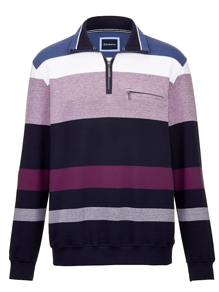 BABISTA Sweatshirt mit garngefärbtem Streifendessin, Marineblau/Beere