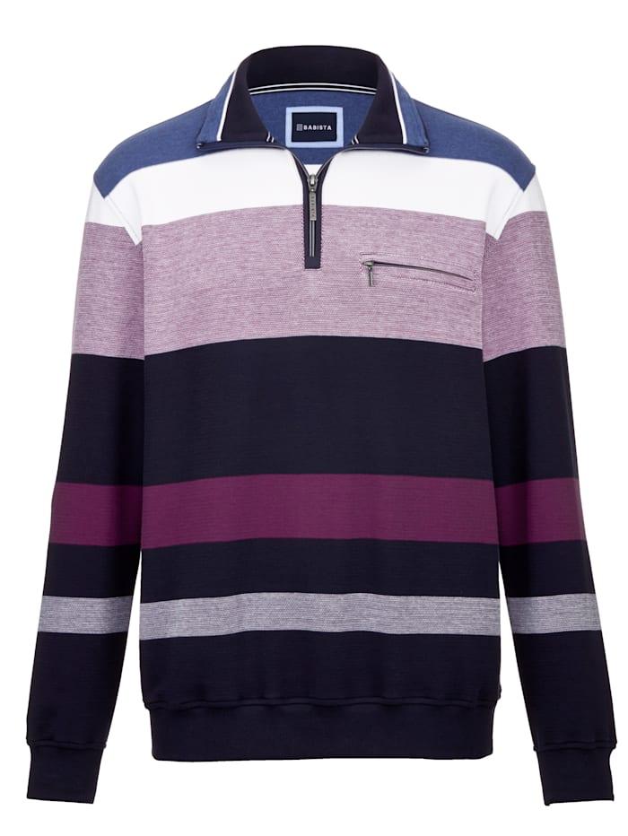 BABISTA Sweatshirt met ingebreid streepdessin, Marine/Berry