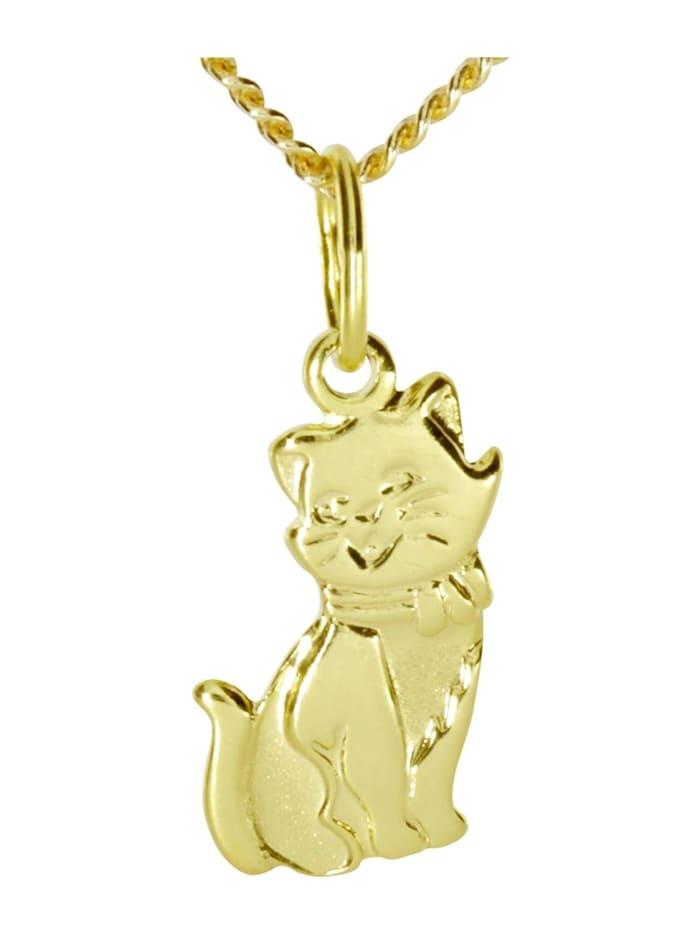 OSTSEE-SCHMUCK Kette mit Anhänger - Katze - Gold 333/000 -, gold