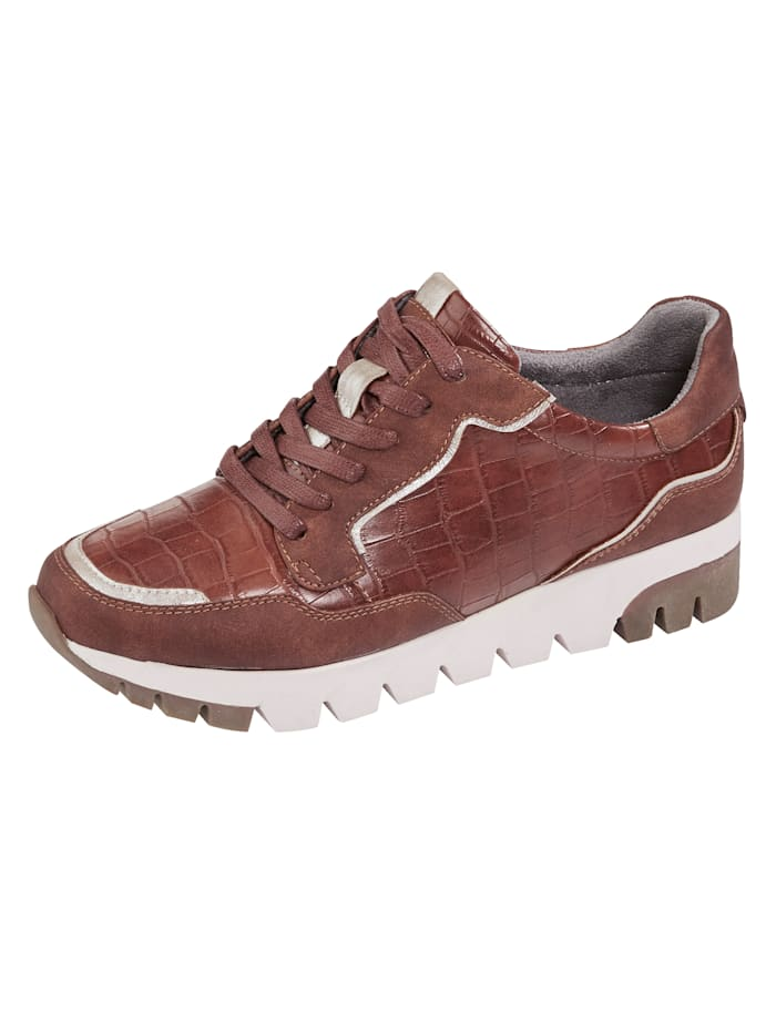 Liva Loop Platform trainers in a chic embossed finish, Cognac