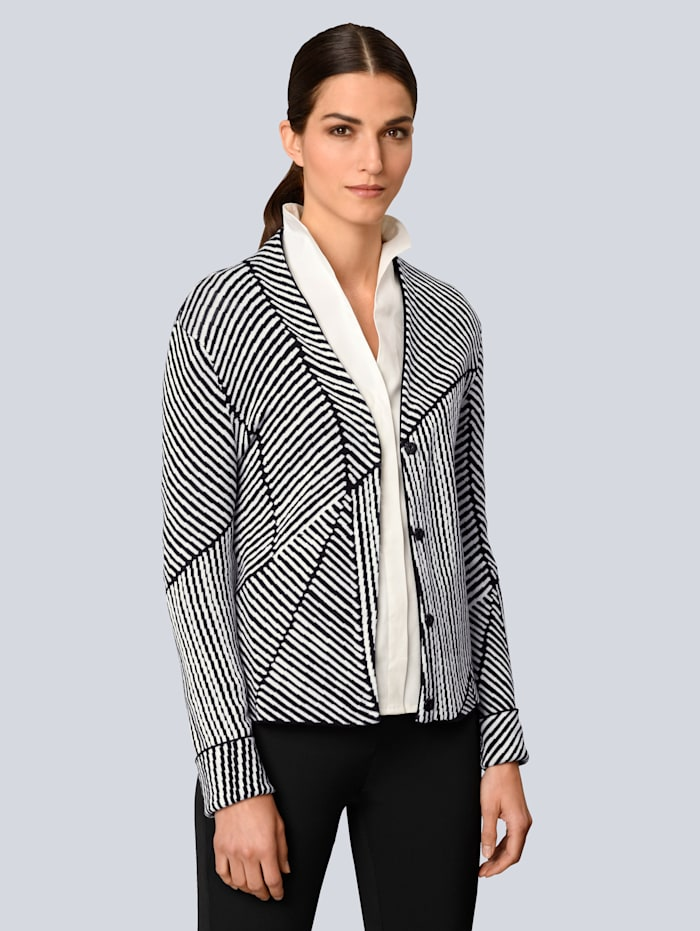Alba Moda Vest met grafisch jacquardpatroon, Zwart/Offwhite