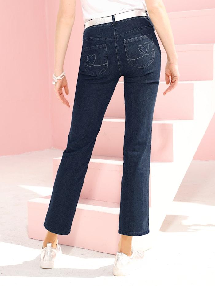 Dress In Jeans Laura Straight mit Strasssteinen  auf den Gesäßtaschen, Marineblau