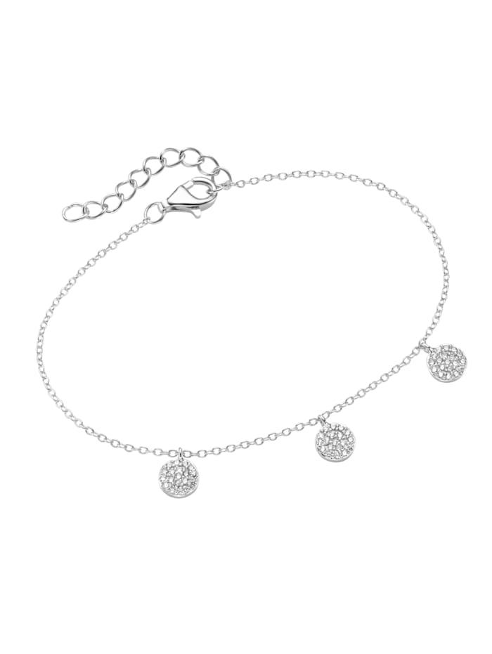 Armband Plättchen mit Zirkonia Steinen, Silber 925