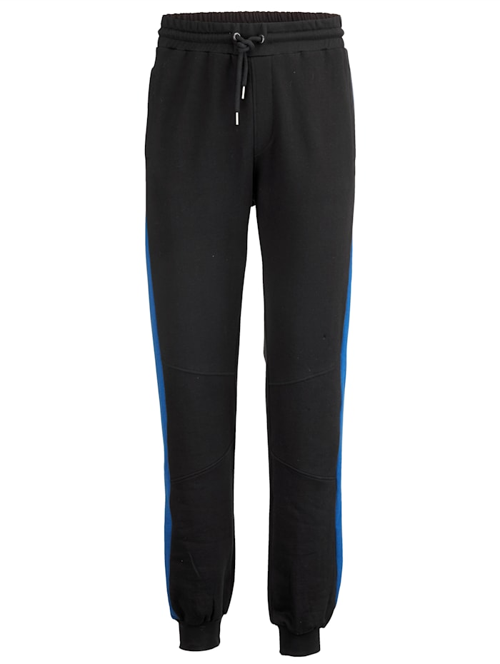 Men Plus Joggingbroek met contrastkleurige inzetten, Zwart/Royal blue
