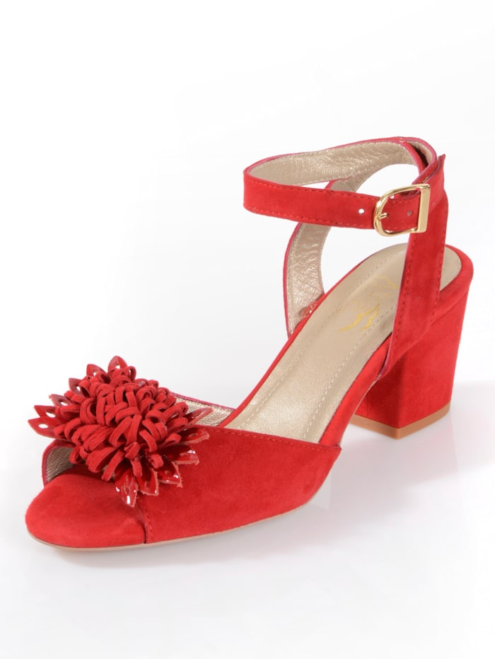 Alba Moda Sandales en cuir velours de chevreau, Rouge