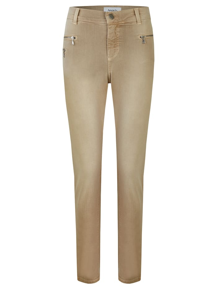 Angels Jeans ,Malu Zip' mit Zipper-Taschen, light camel used