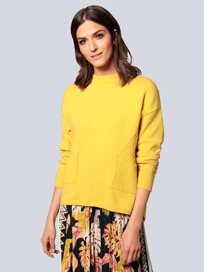 OUI Pullover mit aufgesetzten Taschen, Gelb