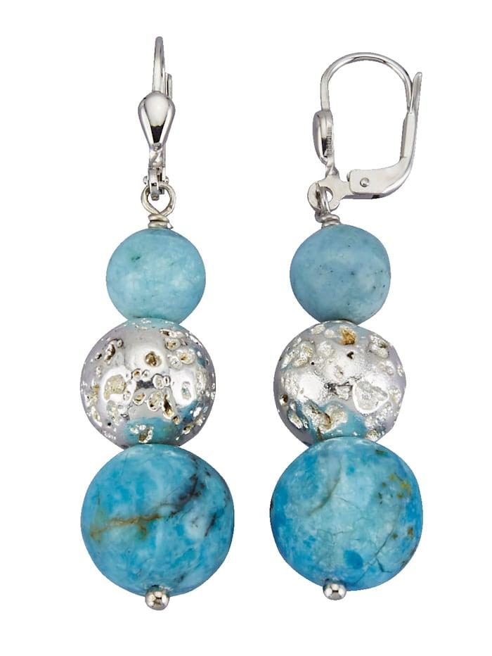 Oorbellen met blauwe opalen (beh.) en lava (beh.), Blauw