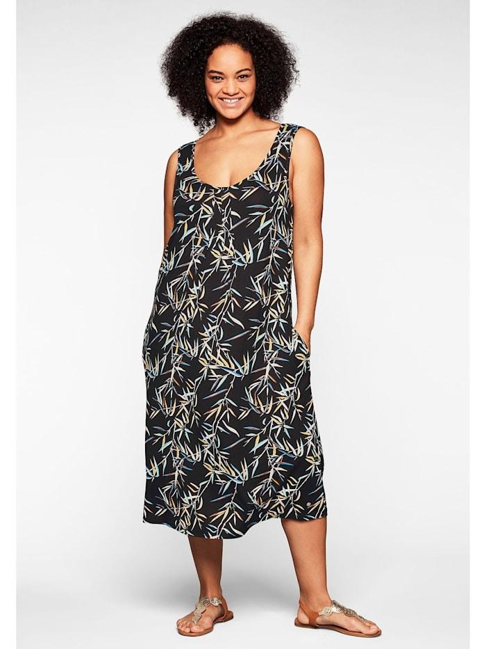 Sheego Strandkleid in ärmelloser Form, mit Faltendetails, schwarz-weiß