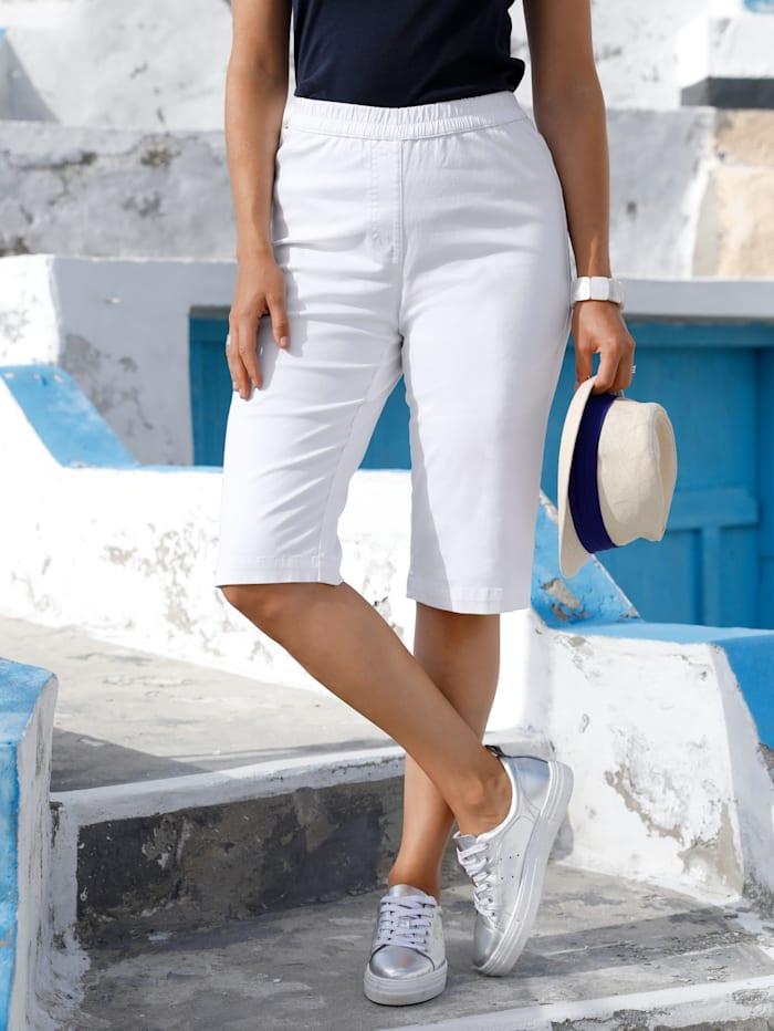 MIAMODA Bermuda à ceinture élastiquée, Blanc