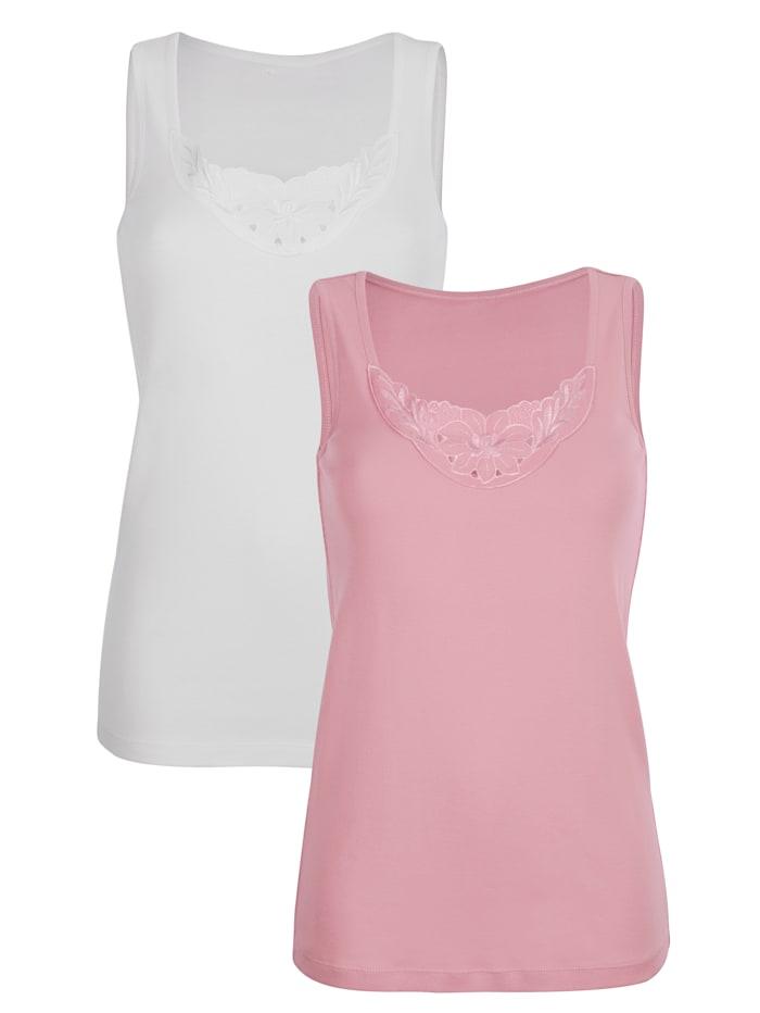 Harmony Hemdjes met kant 2 stuks, 1 x wit, 1 x roze
