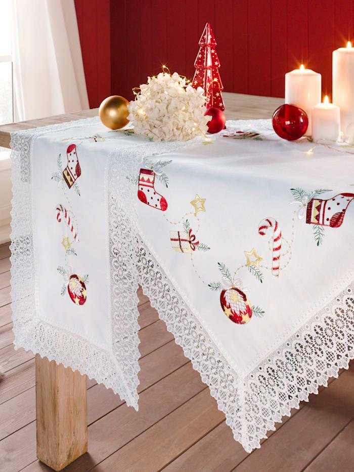 """Webschatz Linge de table """"Déco de Noël"""", blanc/multicolore"""