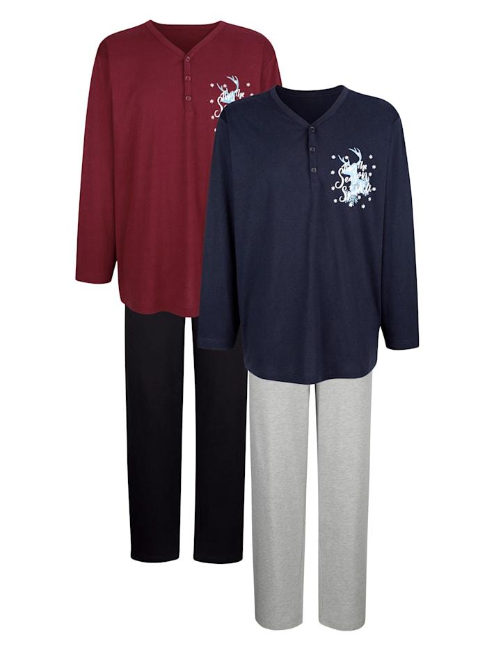 """Pyjamas par lot de 2 en coton issu de l'initiative """"Cotton made in Africa"""", Bleu/Bordeaux"""