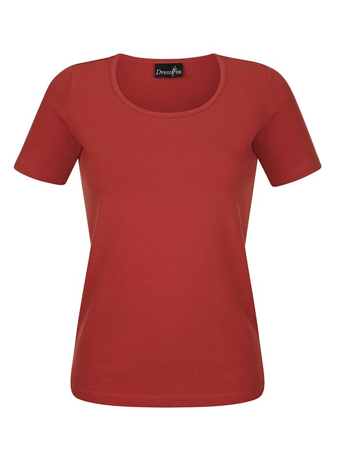 Dress In Shirt mit hohem Baumwollanteil, Terracotta