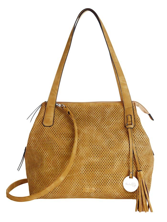 Taschenherz Handbag with cutout detailing, Mustard