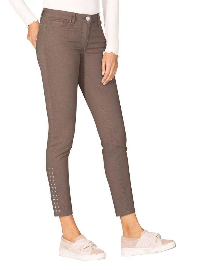 AMY VERMONT Jeans met klinknageltjes, Taupe
