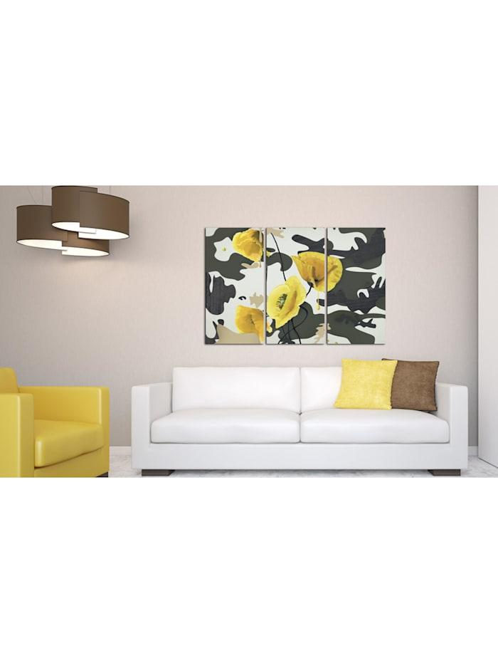 Wandbild Gemalt mit Mohnblumen - Triptychon
