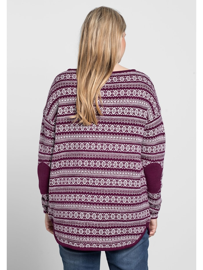 Sheego Pullover In Jaquardstrick