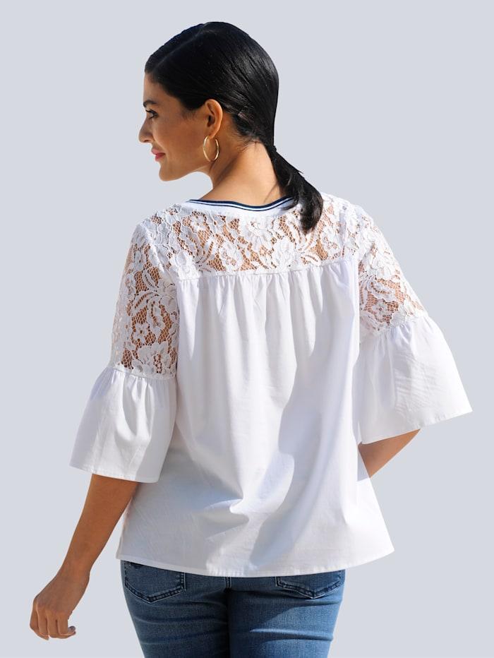 Bluse mit transparenter Spitze